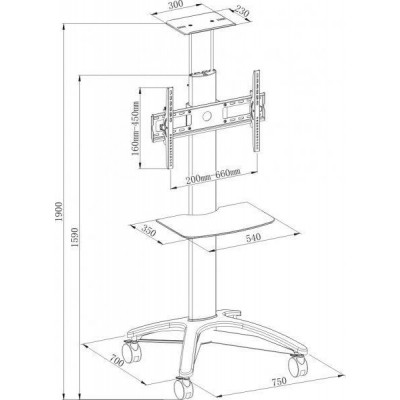 "32""-60"" Floor Stand for LCD / LED / Plasma - Techly - ICA-TR5-2"