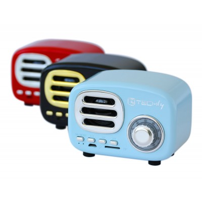 Bluetooth Wireless Speaker, Classic Radio Design, lightblue - Techly - ICASBL12BLUE-5