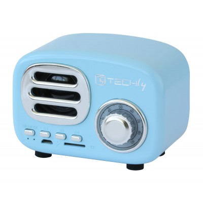 Bluetooth Wireless Speaker, Classic Radio Design, lightblue - Techly - ICASBL12BLUE-3
