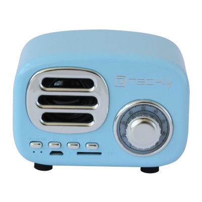 Bluetooth Wireless Speaker, Classic Radio Design, lightblue - Techly - ICASBL12BLUE-1
