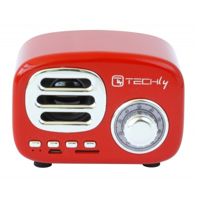 Bluetooth Wireless Speaker, Classic Radio Design, red - Techly - ICASBL12RED-1