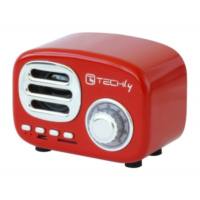 Bluetooth Wireless Speaker, Classic Radio Design, red - Techly - ICASBL12RED-3