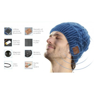 Bluetooth Beanie Cap with Stereo Headset and Microphone - Techly Np - ICC SB-HAT-MBK-2