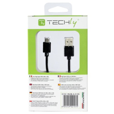High Speed USB Cable to Micro USB Reversible Connectors 0.6m Black - Techly - ICOC MUSB-A-006S-7