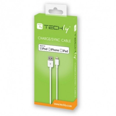 Lightning USB2.0 Cable to 8p 3m White - Techly - ICOC APP-8WH3TY-1