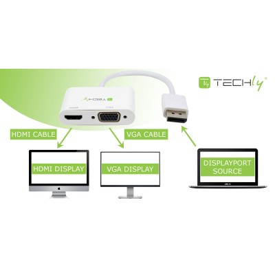 DisplayPort to HDMI/VGA Adapter - Techly - ICOC DSP-VH12-3