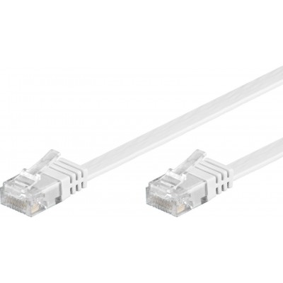 Flat Patch Cable in CCA Cat.5E White UTP 1m - Techly Professional - ICOC U5EB-FL-010T-1