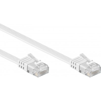 Flat Patch Cable in CCA Cat.5E White UTP 2m - Techly Professional - ICOC U5EB-FL-020T-1