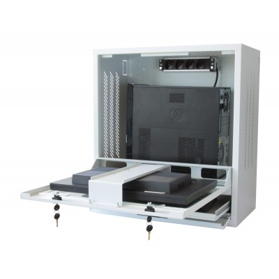PC Security Cabinet, LCD Monitor and Keyboard Gray Reconditioned  - Techly Professional - ICRLIM10R-4