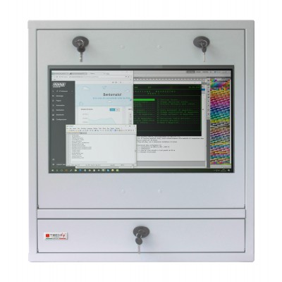 PC Security Cabinet, LCD Monitor and Keyboard Gray Reconditioned  - Techly Professional - ICRLIM10R-1