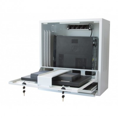Security gray cabinet for PC, LCD touch monitor and keyboard - Techly Professional - ICRLIM10SV-5