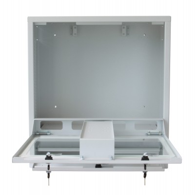 Security gray cabinet for PC, LCD touch monitor and keyboard - Techly Professional - ICRLIM10SV-4