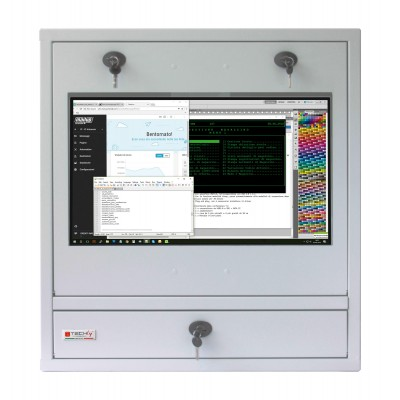 Security gray cabinet for PC, LCD touch monitor and keyboard - Techly Professional - ICRLIM10SV-2