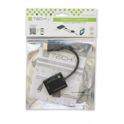 Cable Adapter Converter HDMI to VGA with Micro USB and Audio - Techly - IDATA HDMI-VGA2AU-1