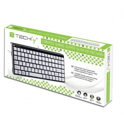 PS2/USB Mini Keyboard White KB-100  - Techly - IDATA KB-100WH-1