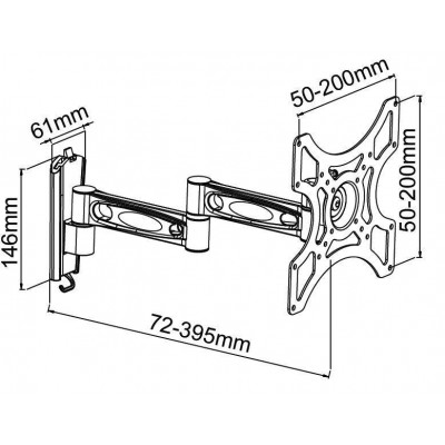 "17""-37"" Wall Bracket for LED LCD TV Tilt 3 Joints Silver - Techly - ICA-LCD 2602-2"