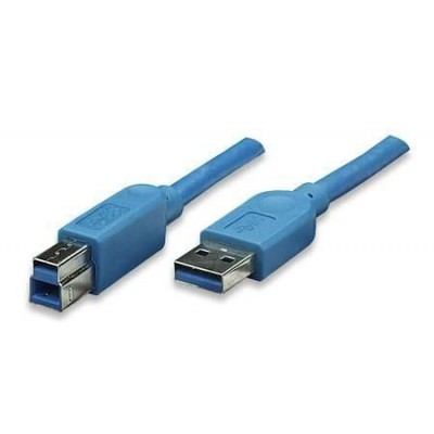 USB 3.0 Cable A Male / B Male 2 m Blue - Techly - ICOC U3-AB-20-BL-1