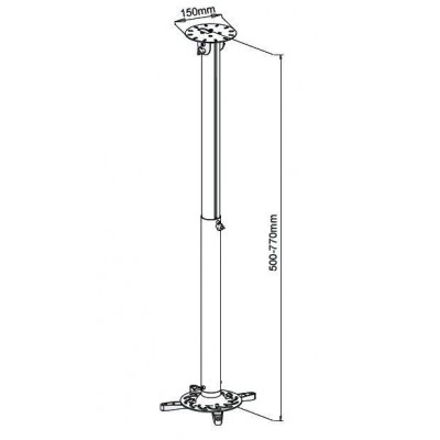 Professional Projector Ceiling Stand Extension 50-77 cm - Techly - ICA-PM 104M-2