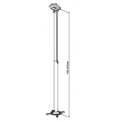 Professional Projector Ceiling Stand Extension 110-197cm - Techly - ICA-PM 104XL-2