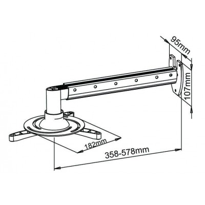 Professional Extensible Wall Support for Projectors - Techly - ICA-PM 103L-3