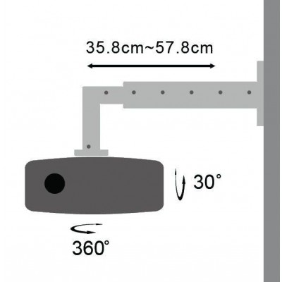 Professional Extensible Wall Support for Projectors - Techly - ICA-PM 103L-4