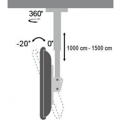 """32""""-60"""" Universal Ceiling Support for LED TV LCD Long Arm - Techly - ICA-CPLB 102LX-3"""