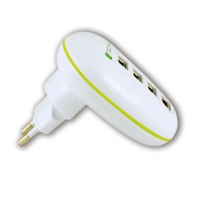 4-port USB Power Adapter 2.5A Smartphone / Tablet White - Techly - IPW-USB-4PWH-4