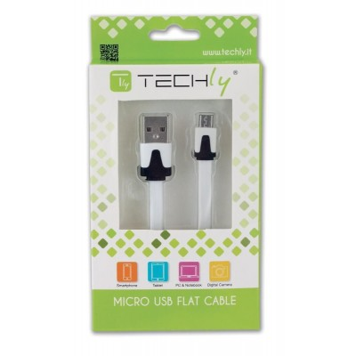 Flat Cable USB AM to Micro USB M White 1 m - Techly - ICOC MUSB-A-FLW-1