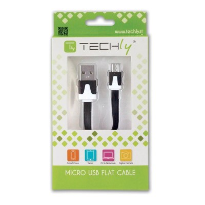 Flat Cable USB AM to Micro USB M Black 1 m - Techly - ICOC MUSB-A-FLB-1