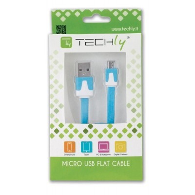 Flat Cable USB AM to Micro USB M Blue 1 m - Techly - ICOC MUSB-A-FLBL-1