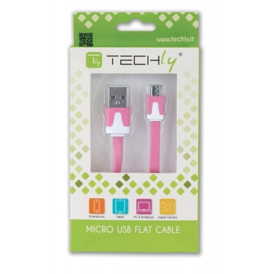 Flat Cable USB AM to Micro USB M Pink 1 m - Techly - ICOC MUSB-A-FLR-1
