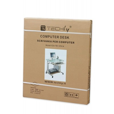 Compact Desk for PC Metal & Glass with Wheels - Techly - ICA-TB 3791A-1