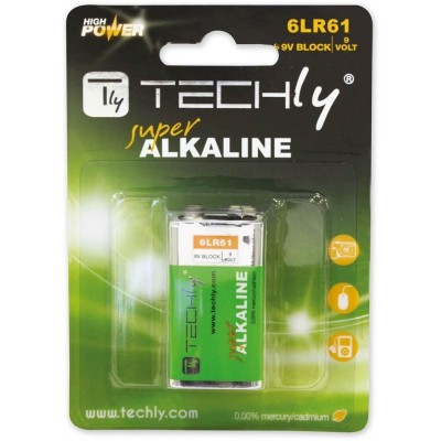 Blister 1 High Power Battery Alkaline 6LR61 9V - Techly - IBT-KAL-LR61T-1