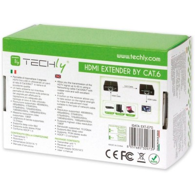 Amplifier HDMI Full HD up to 60m of cable Cat. 6 / 6A / 7 - Techly - IDATA EXT-E70-8