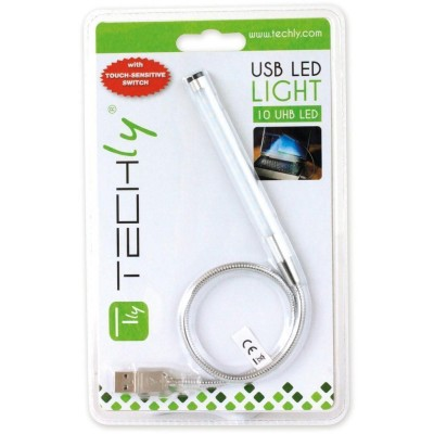 USB Flexible Lamp 10LED 40cm Dimmable for Notebook, Silver - Techly - IUSB-LIGHT10-1