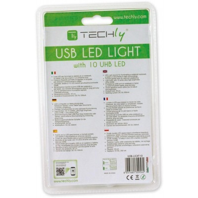 USB Flexible Lamp 10LED 40cm Dimmable for Notebook, Silver - Techly - IUSB-LIGHT10-6