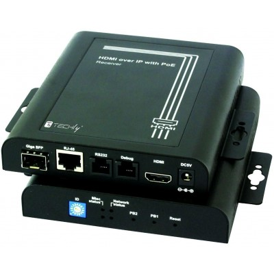 HDMI Extender Receiver over IP with PoE and Video Wall Function - Techly - IDATA EXTIP-VWR-2