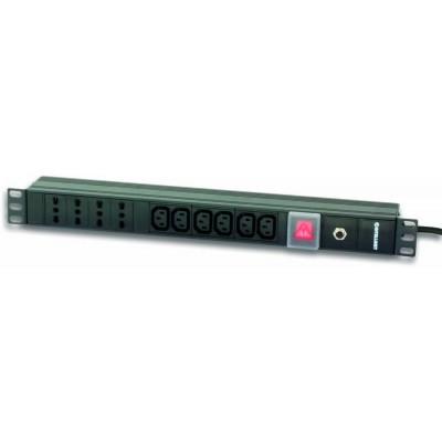 "Rack 19"" PDU 4 italian + 6 VDE outputs with switch  - Techly Professional - I-CASE STRIP-64-1"