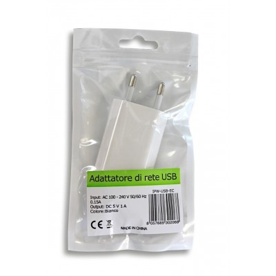 Transformer from Italian Network to USB White - Techly - IPW-USB-EC-1