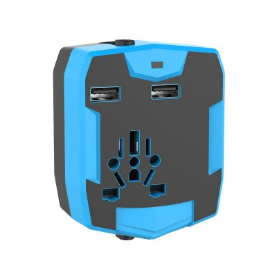 Travel Adapter with PowerBank 3000mAh and 2 USB - Techly Np - IPW-ADAPT3000-5