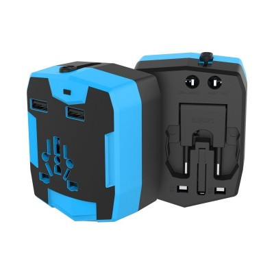 Travel Adapter with PowerBank 6000mAh and 2 USB - Techly Np - IPW-ADAPT6000-7