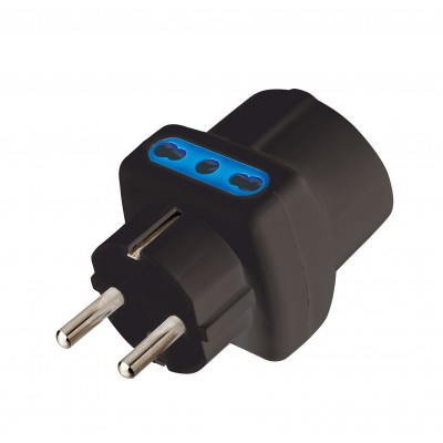Three-way Adaptor - Schuko plug to italian and schuko sockets Black - Techly - IPW-TRP1040BK-1