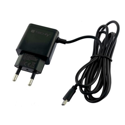 Micro USB Wall Charger 5V 2.1A for Smartphone or Tablet - Techly - IPW-USB-21AMBK-1