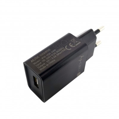 USB-A Wall Charger 5V 2.4A for Smartphone or Tablet - Techly - IPW-USB-24BK-1