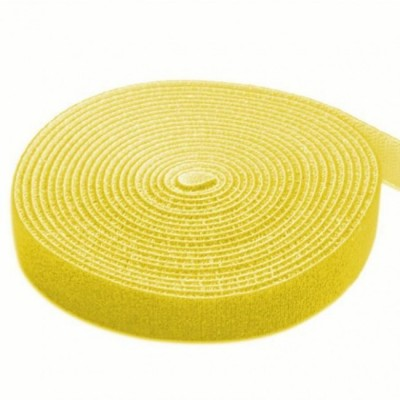 Velcro Roll Cable Management Length 4m Width 16mm Yellow - Techly - ISWT-ROLL-164YETY-1