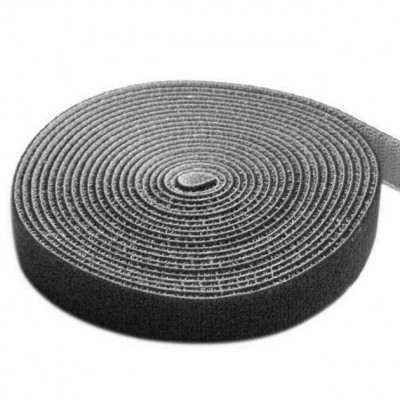 Velcro Roll Cable Management Length 10m Width 20mm Black - Techly - ISWT-ROLL-2010BKTY-1