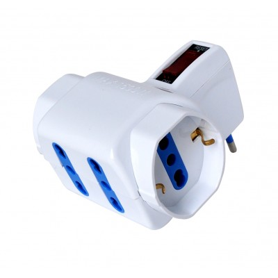 Adaptor with italian 10A plug and 2 italian dual-size std + 2 dual-size/german std sockets - Techly - IUPS-PCP-2I2S-SP10-1