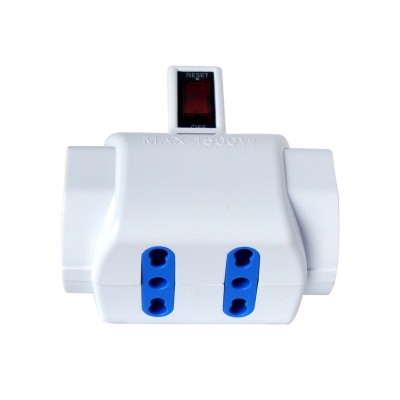 Adaptor with italian 10A plug and 2 italian dual-size std + 2 dual-size/german std sockets - Techly - IUPS-PCP-2I2S-SP10-3