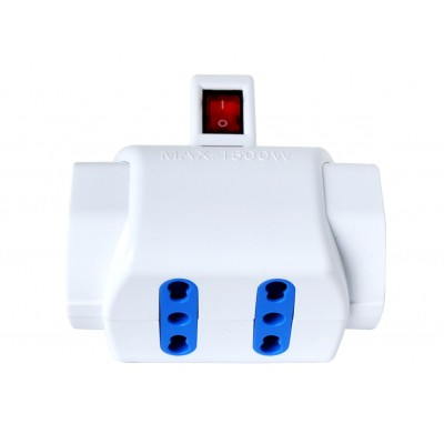 Adaptor with italian 16A plug and 2 italian dual-size std + 2 dual-size/german std sockets - Techly - IUPS-PCP-2I2S-SP16-3