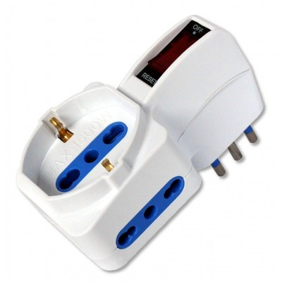 Adapter with 2x10/16A and 1x10/16A and Schuko Sockets and 10A Plug - Techly - IUPS-PCP-2R10A-1